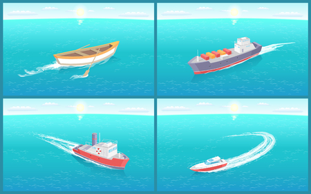 Water transport, variety of ships and boats set vector. Rowing vessel made of wooden material, motor and cruise liner. Shipments of goods and cargo Ilustração