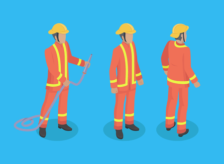 Firefighter construction set of men wearing special protective uniform. Male with firehose with helmet on head. Brigade of firemen isolated on vector  イラスト・ベクター素材