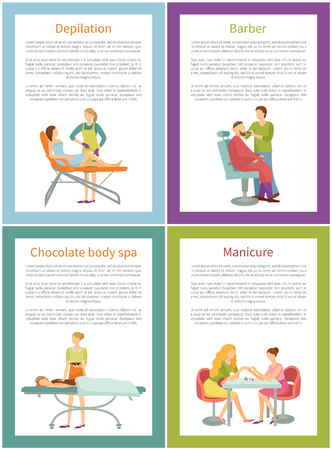 Depilation and barber, tanning posters set with text sample and frames vector. Wax procedure of hair removal on legs, cosmetician face care specialist