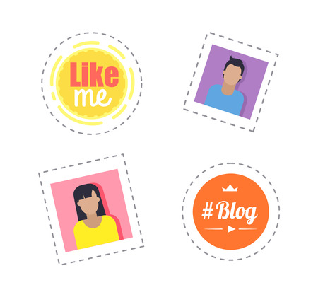 Blogger Day Thought Bubbles and Profile Vector Illustration