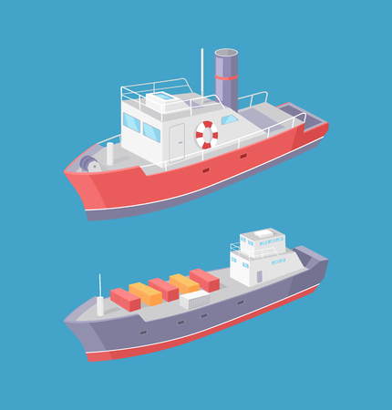 Steamboat and Cargo Ship Marine Transport Vessels