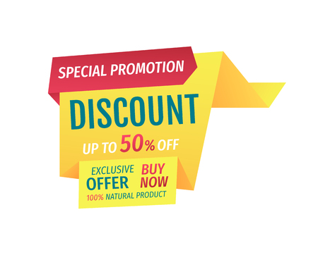 Special promotion discount up to half price. Exclusive offer buy now natural products assurance. Shop proposal super deal banner isolated on vector 일러스트
