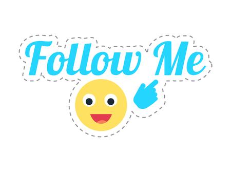 Follow Me Emoji and Text Thumb Sticker Vector Illustration