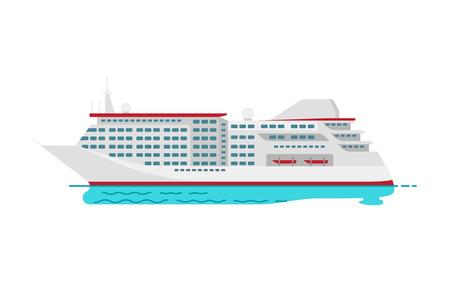 Barco de vapor rojo grande del crucero de lujo espacioso en la superficie del agua aislada en el fondo blanco. Ilustraciones de vectores de barcos de navegación en estilo plano