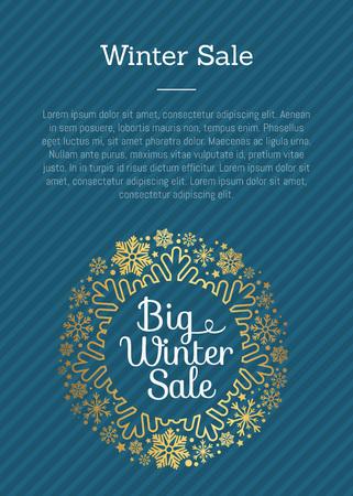 Saldi invernali Poster in cornice fatta di fiocchi di neve Vettoriali
