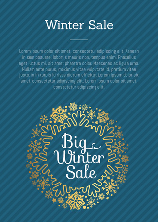Winter Sale Poster in Frame Made of Snowflakes Ilustracja