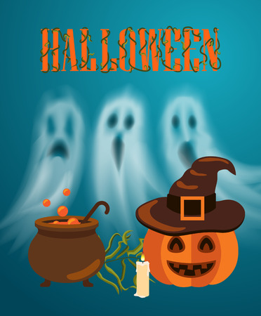 Happy Halloween pumpkin and burning candle, poster with text. Jack lantern wearing hat of witch, poison brewing in pot. Ghosts and apparitions vector Ilustrace