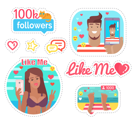 Blogger Woman and Man on Vacation Stickers Vector