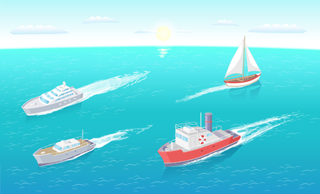 Water transport sailing boat and motor ship set of sea and ocean transportation means vector. Ferry with inflatable lifebuoy saving ring, yacht rides