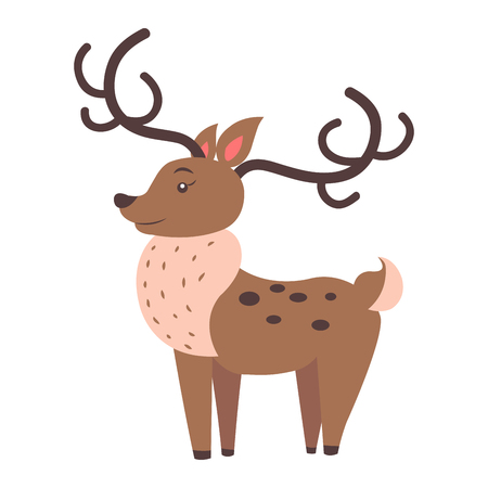 Cute funny horned fallow reindeer vector flat cartoon sticker isolated on white. Herbivorous animal illustration for game counters, price tags Illustration