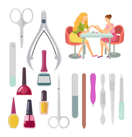 Spa salon manicurist procedure, isolated icons set vector. Scissors and glass bottle with nail polishing files and tools instruments for manicure Illustration