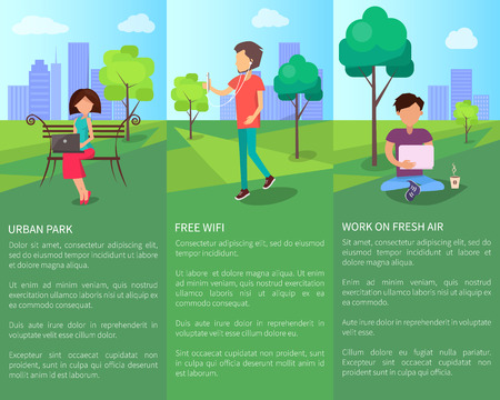 Free internet in Urban Park with People Working