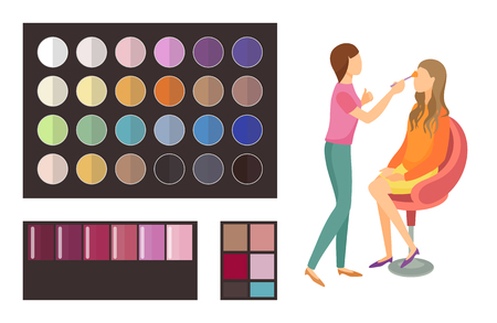 Visage makeup of client woman sitting in armchair of beauty salon. Palette of eyeshadow with different shades and colors. Visagiste working set vector Illustration