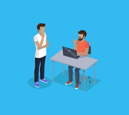 Consulting man and developer. Person using laptop working on project and discussing details with colleague, Man sitting by table isolated on vector