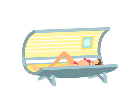 Girl Lying and Tanning in Solarium Cartoon Poster 版權商用圖片 - 113461514
