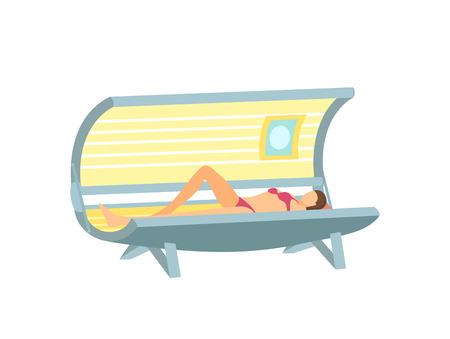 Póster Chica acostada y bronceándose en solárium de dibujos animados