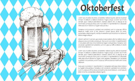 Oktoberfest beer objects set hand drawn icons. Full tumbler with flowing foam and lobster on blue and white rhombuses vintage vector template bar menu Ilustrace