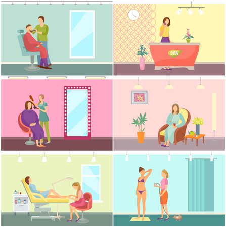 Barber and hairdressing, massage and resting room with equipment, clients and workers. Beauty salon and spa center interior cartoon set vector posters