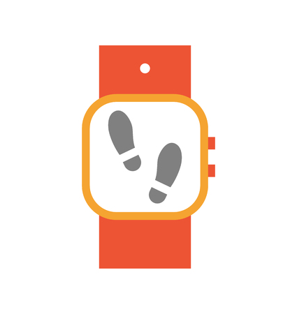 Wristwatch with display and steps on screen. Isolated icon of smart watch used during sport exercises. Digital device tracing counting motions vector