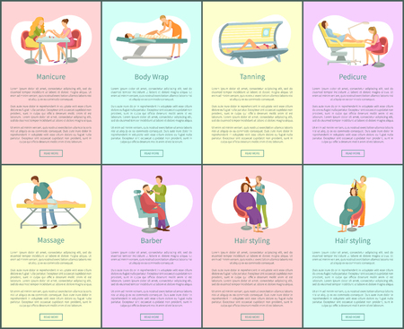 Pedicure and manicure, tanning and massage on back, barber for men beard. Posters set with text chocolate body spa procedure by specialist vector Illustration