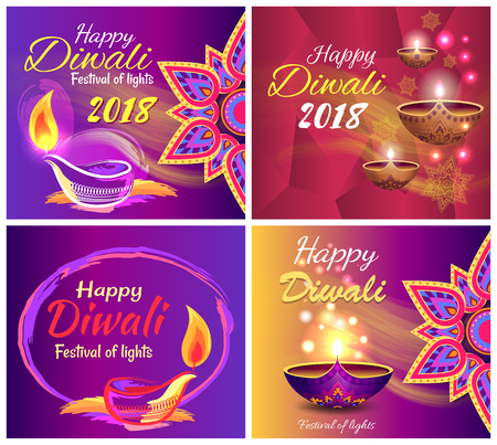 Happy Diwali festival of light 2018 set of posters with traditional patterns, mandalas and illuminated candles. Vector illustration with colorful banners 向量圖像