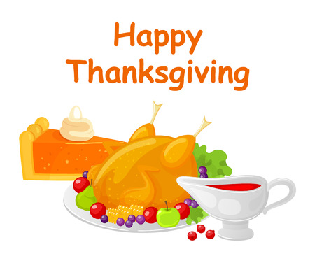 Happy Thanksgiving Day Turkey Dish Meat Vector 写真素材 - 113461516