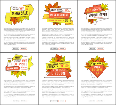 Mega sale promo posters set with text sample. Maple leaves, oak foliage autumn symbols on advert leaflet. Exclusive offer only one day on Thanksgiving day Ilustração