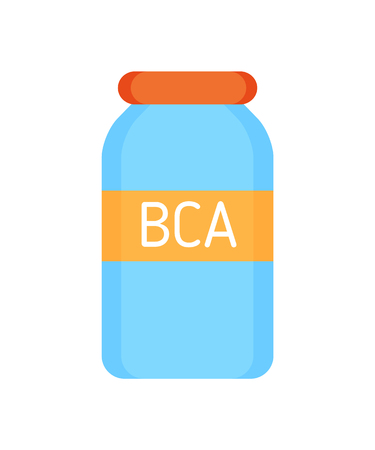 BCA vitamins for sportsmen isolated icon vector. Branched-chain amino acids used in period of activities and sport training. Body builders supplements