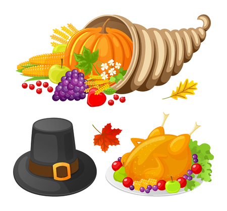 Pumpkin and Turkey Cooked Meat Icons Set Vector