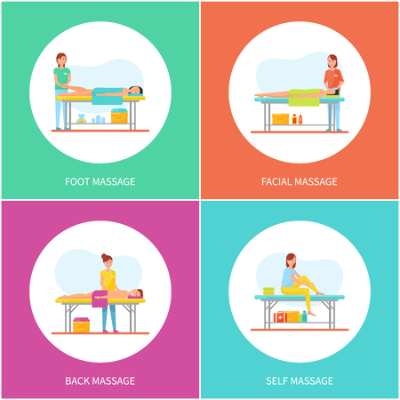 Foot and Facial Self Massage Care Icons Set Vector