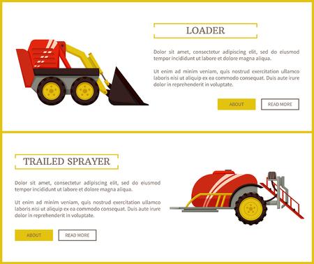 Loader and Trailed Sprayer Set Vector Illustration Reklamní fotografie - 113461553