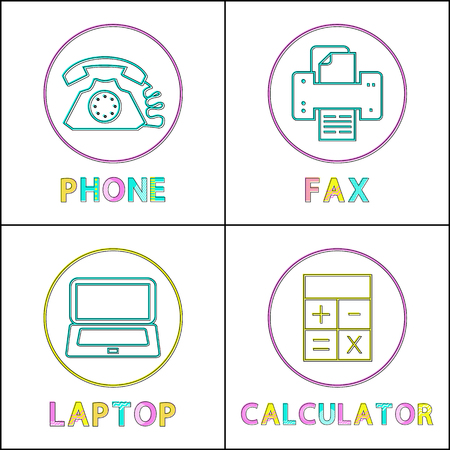 Phone and Fax Machine Icons Vector Illustration Stock Photo