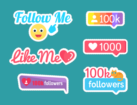 Follow and Like Me Stickers with Emoji Set Vector Stock Photo