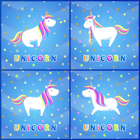 Girlish Unicorn with Rainbow Mane and Sharp Horn