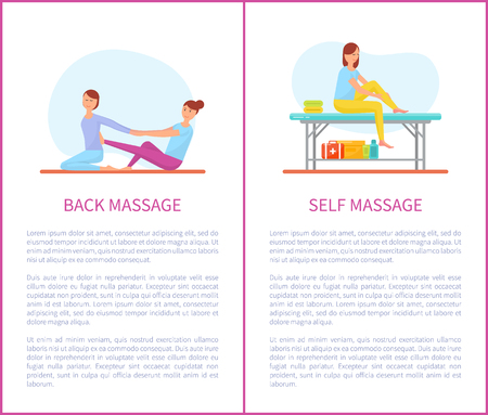 Back and Self Medical Massage Cartoon Posters Set Stockfoto
