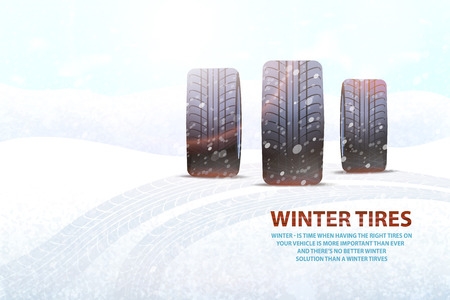 High Quality Winter Tires Commercial with Slogan 写真素材 - 113461565