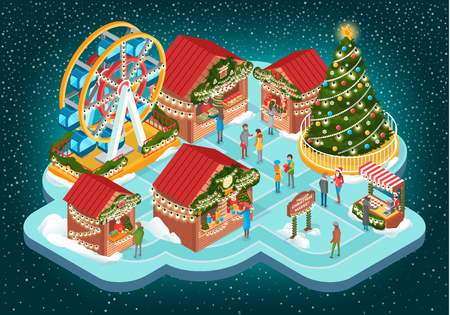 Christmas Fair with Buildings and Ferris Vector