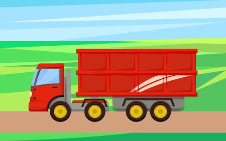 Grain Truck Transporting Crop Vector Illustration Banco de Imagens