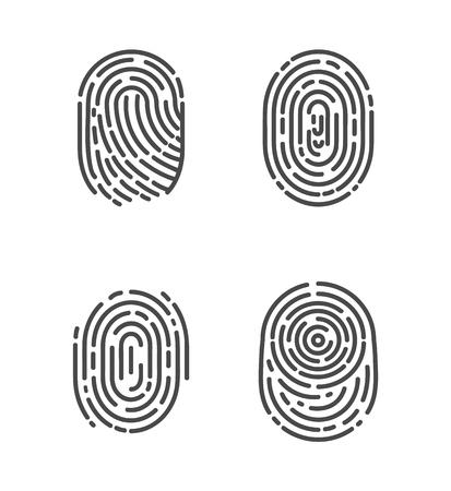 Identification Fingerprints Sketches Set Vector