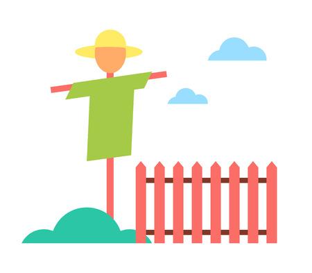 Scarecrow in Garden on Farm Cartoon Vector Icon