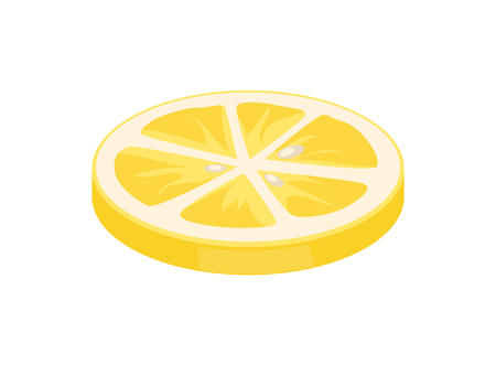 Lemon citron slice citrus piece segments of juicy sour fruit icon closeup. Sliced plant used as seasoning for salads ripe product isolated on vector