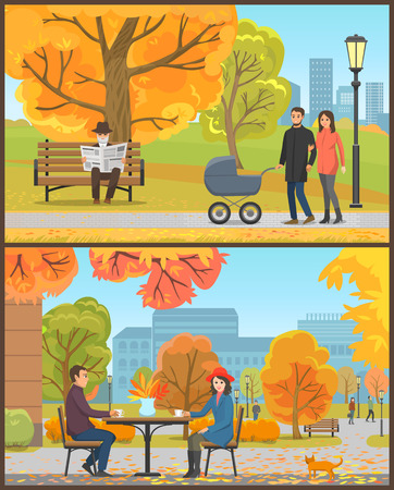 Cafe customers couple and park autumn season set vector. Male and female with pram, happy family and elderly person reading newspaper. Cat by clients Banque d'images - 127190578