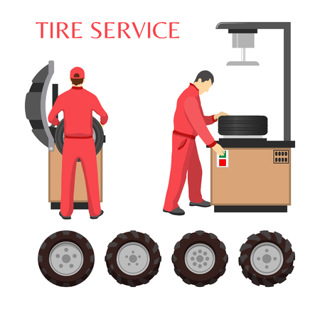 Tire service, vector poster in cartoon style. Workers in uniform, computer and control panel for diagnostic, in process of repairing wheels with tools
