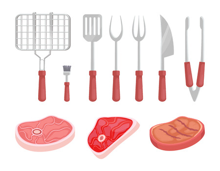 BBQ barbecue grate grille and meat types isolated icons vector. Beef pork and cooked chicken. Spatula and fork brush knife flatware for picnic outing