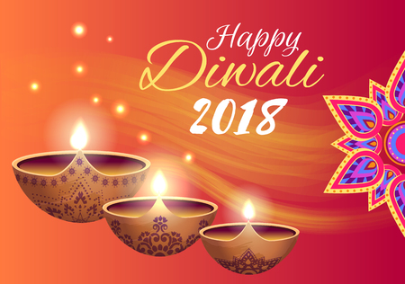 Happy Diwali 2018 Poster on Vector Illustration