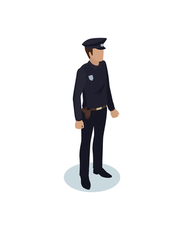Police officer in black uniform. Strong person wearing special clothes with badge. Protection of are by man working as policeman isolated on vector Illustration