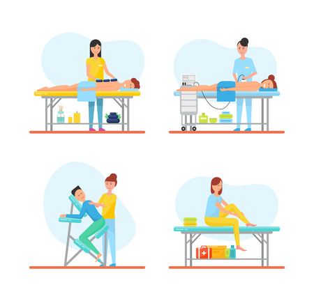 Massage techniques and methods isolated icons vector. People relaxing on tables, masseuses working using apparatus and hot stones, self care and chair
