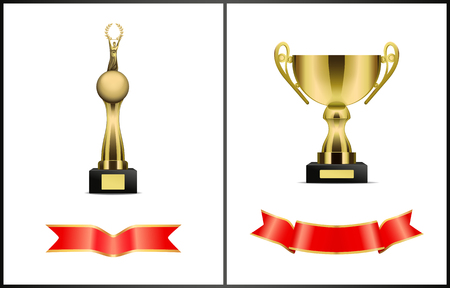 Awards and red wavy ribbons icons set. Trophies cup with handles on pedestal and globe with human figure holding laurel branches isolated on vector Illustration