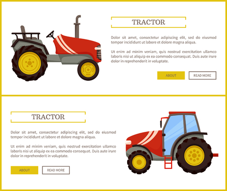 Tractor husbandry machine poster set with text sample. Machinery used in agriculture for transporting and plowing. Mechanization of farming vector Illustration
