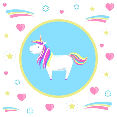 Unicorn with rainbow mane and sharp horn. Mysterious horse from fairy tales or legends in blue circle. Childish animal character vector isolated on hearts Illustration